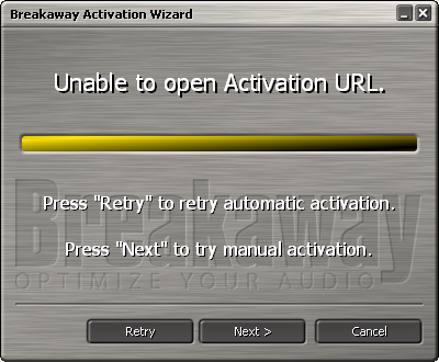 unable to open activation URL, press next to manually authorize